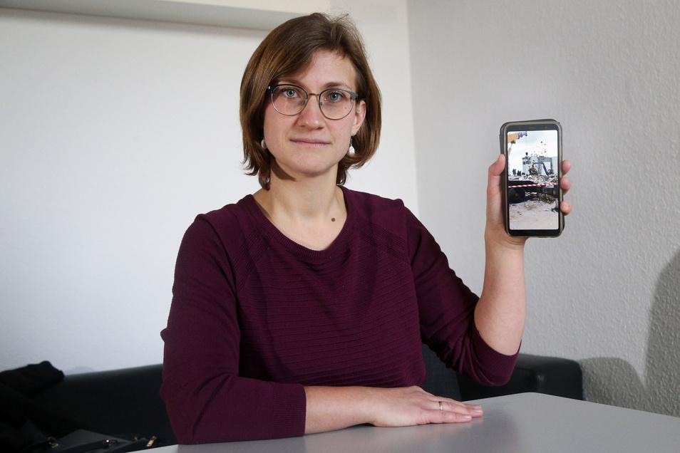 Anne Kretschmer (geb. Wagner) steht mit ihren Kollegen in Tirana immer in Verbindung. Per Handy schickten sie ihr Bilder der Zerstörung nach dem Erdbeben in Albanien.