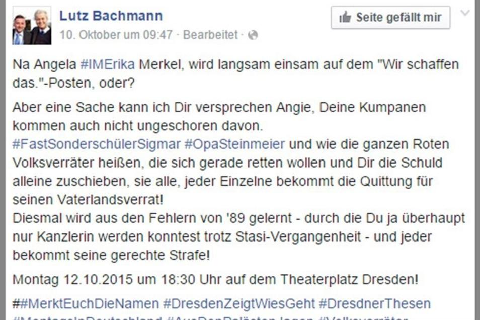 Das Posting Bachmanns auf Facebook.