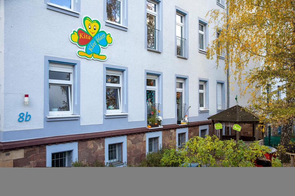 """Öffnet voraussichtlich erst kommenden Donnerstag wieder: die Kita """"Kleeblatt"""" an der Döbelner Kunzemann-Straße."""