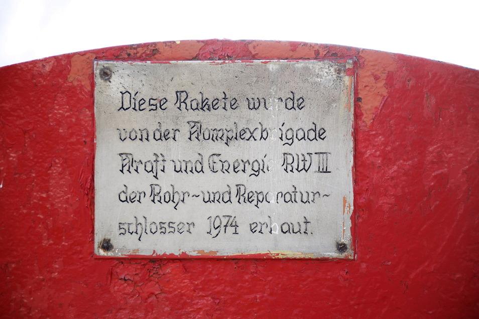 Die Patenbrigade vom Rohrwerk Zeithain hat sich auf diesem Schild verewigt.