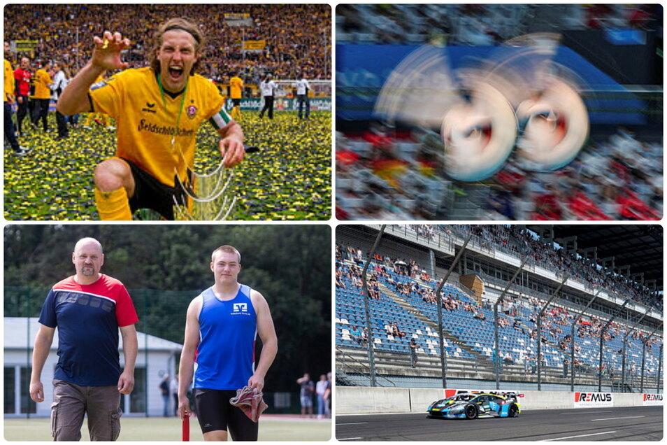Die Protagonisten des Sportmontags aus sächsischer Sicht: Dynamo-Legende Michael Hefele, Wasserspringerin Tina Punzel, der DTM-Rennstall T3 und Kugelstoßer Lukas Schober.