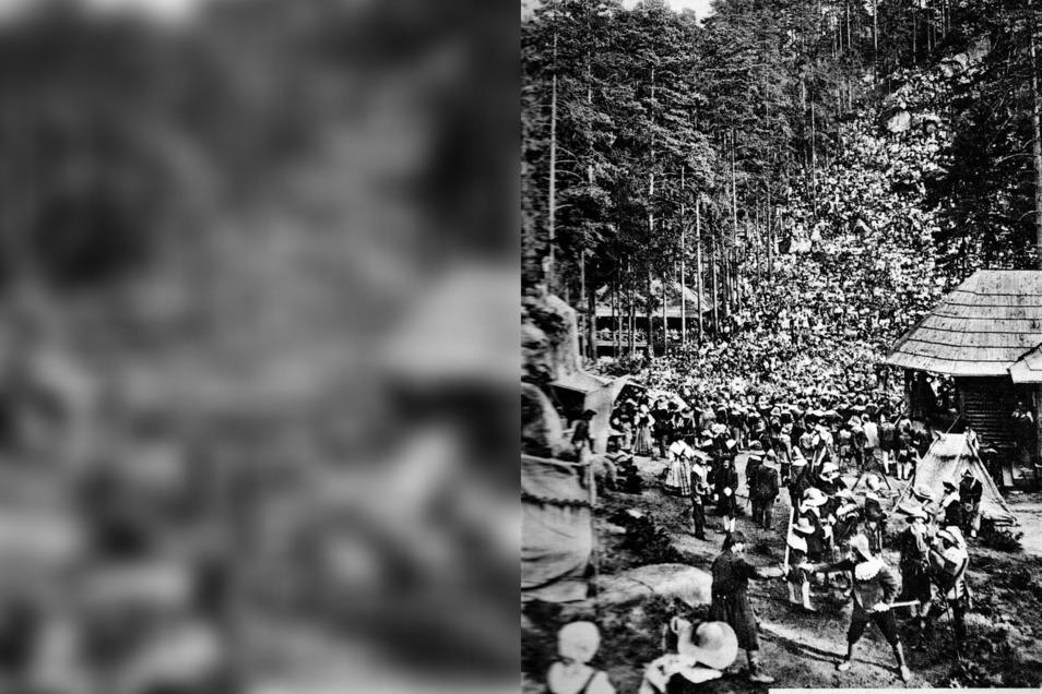 """5.000 Zuschauer sahen am 29. Juli 1912 die Aufführung von """"Wallensteins Lager"""". Nicht nur die Sitzreihen, sondern auch der Hang des Schuppenberges, waren dicht an dicht belegt."""