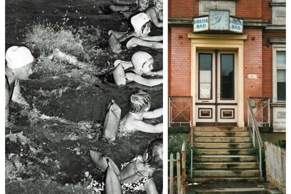 Ein Leben lang zählte Friedel Sommer zu den Persönlichkeiten im Schwimmsport. Im Freisebad (Bild links) brachte sie Kindern das Schwimmen bei. Das Bild rechts zeigt den Eingang zum Freisebad, fotografiert im Jahr der Schließung.