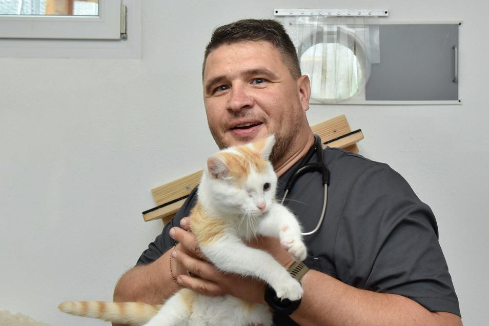 Er ist der Arzt vom Freitaler Tierheim: Thomas Kießling (44) aus Possendorf, hier mit einem Ex-Patienten. Durch Katzenschnupfen hat der Kater ein Auge verloren.