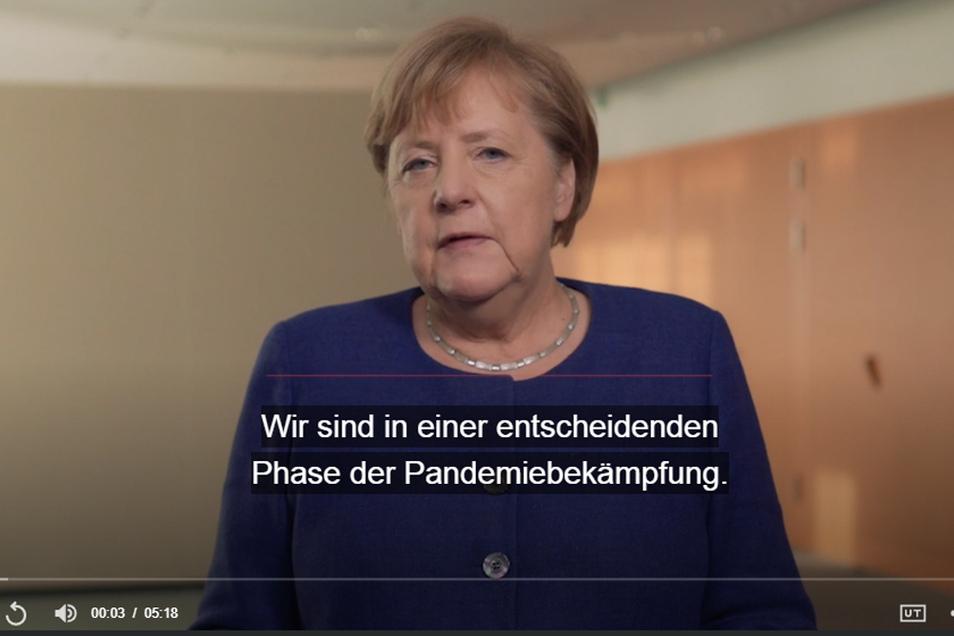 Bundeskanzlerin Angela Merkel in ihrem Corona-Podcast.