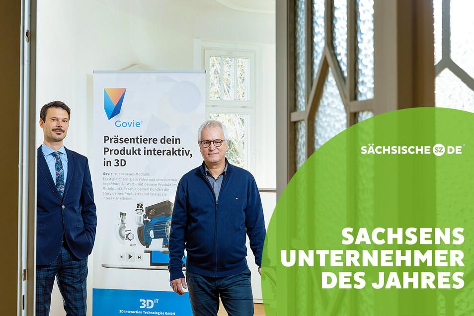 Mit ihrem weltweit einzigartigen Präsentationsformat Govie öffnen sie Türen und werden Chancenmanager – erst recht in Pandemie-Zeiten: Henry Wojcik und Ingolf Seifert (v.l.), Chefs und Mitinhaber der 3D Interaction Technologies GmbH in Dresden.
