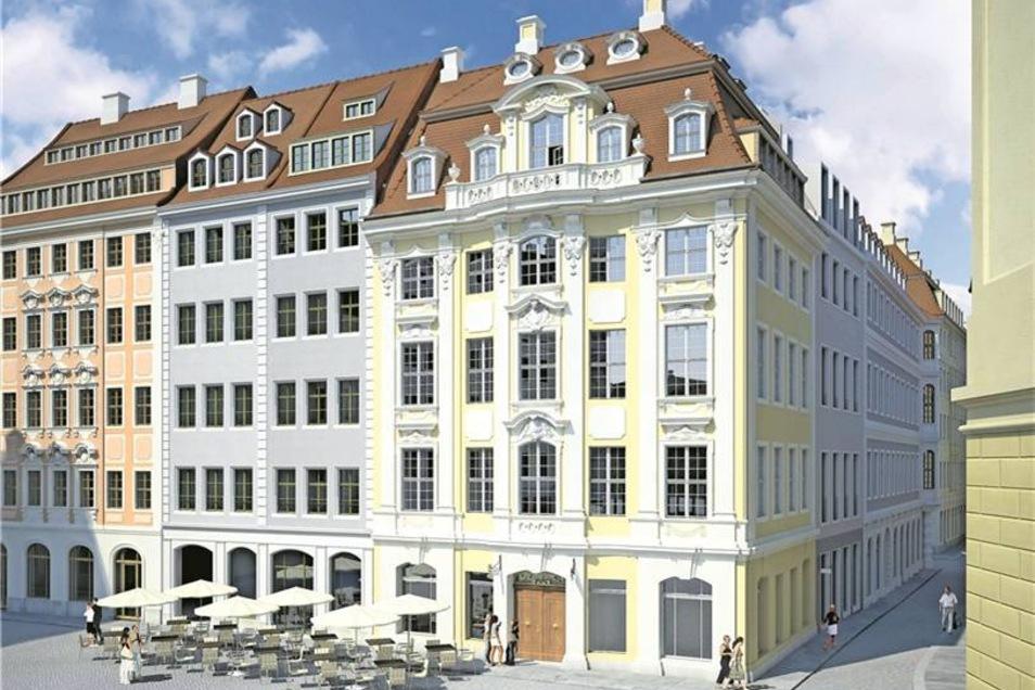 Das gelbe Dinglingerhaus wird das bekannteste Gebäude im neuen Areal sein. Es wird wieder originalgetreu aufgebaut. Visualisierung: Andreas Hummel/arte4D,