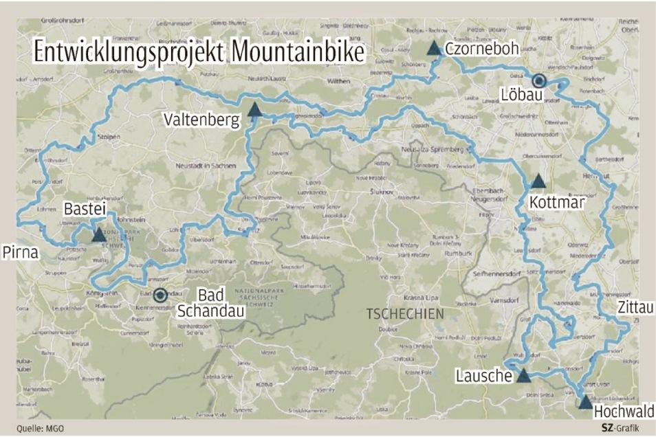 Etwa 300 Kilometer lang ist die Moutaninbike-Strecke, die künftig von Pirna nach Zittau und wieder zurück führen soll.