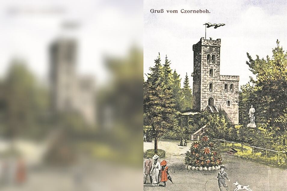 So pries einst eine Postkarte die Vorzüge des Czorneboh und seines Turmes.