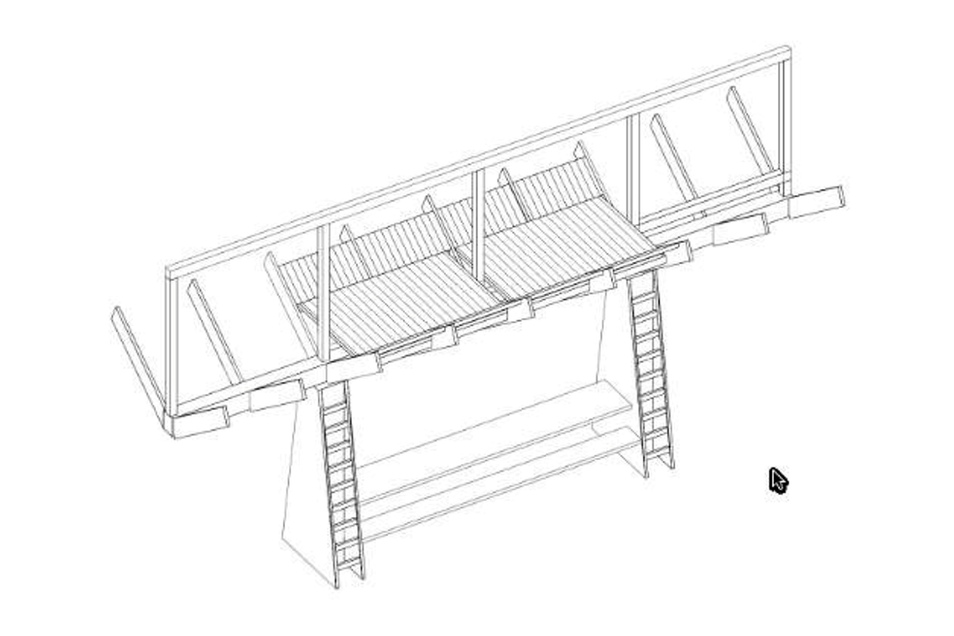 """Wie eine überdimensionale """"Futterkrippe"""" kommt der Entwurf von Luise Schuhmann daher. An einer etwa 3,50 Meter langen Tafel können Wanderer Platz nehmen. Über zwei Leitern geht es hinauf zum geschützten Schlafboden, der viel Stauraum für Rucksäcke bietet."""