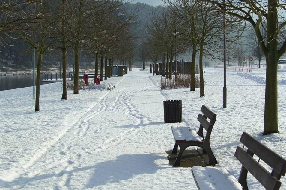 """Rathen. Joachim Wehner betitelte sein Foto vom 15. Januar mit """"Mittagsruhe auf der Klangterrasse"""" im  Kurort Rathen."""