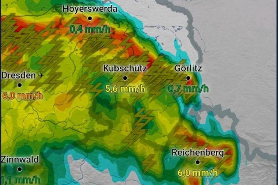Blitze bekam Görlitz eine Menge ab, Regen weniger - zumindest an der Wetterstation.