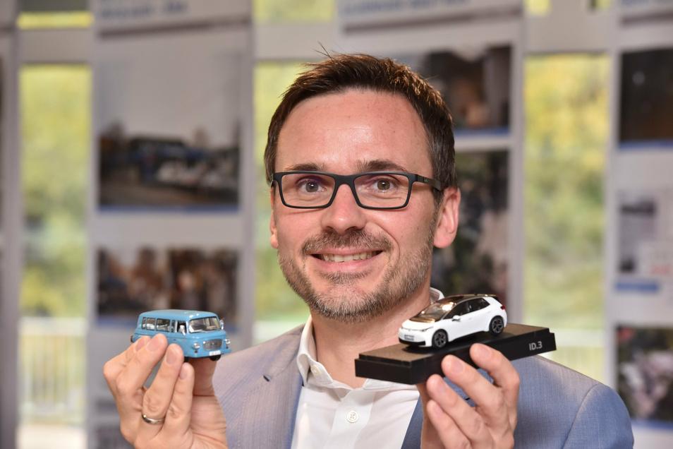 Daniel Liliensiek mit Barkas und der neusten VW-Generation ID 3