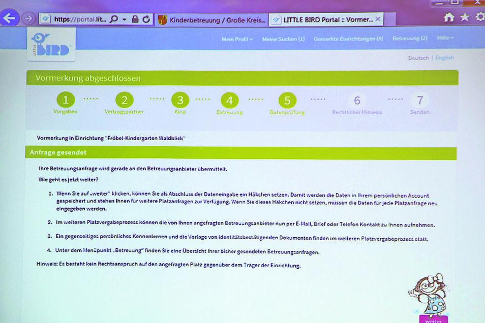 4. Sind die Angaben vollständig, kann der Antrag abgeschickt werden. Er landet auf dem virtuellen Schreibtisch des jeweiligen Einrichtungsleiters.