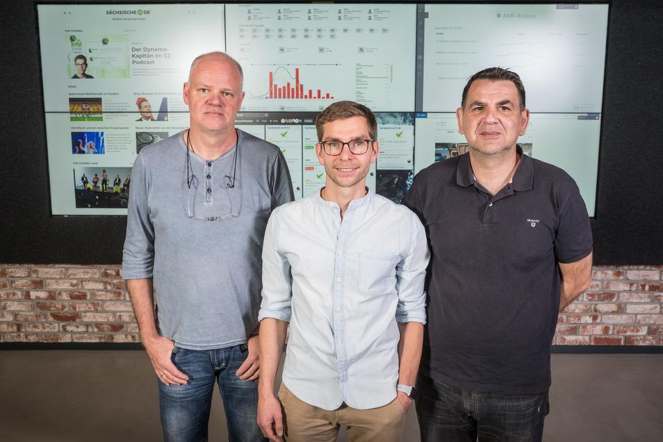 Das Tickerteam von Sächsische.de am Wahlabend: Ulrich Wolf, Fabian Deicke und Mirko Jakubowsky (l-r)