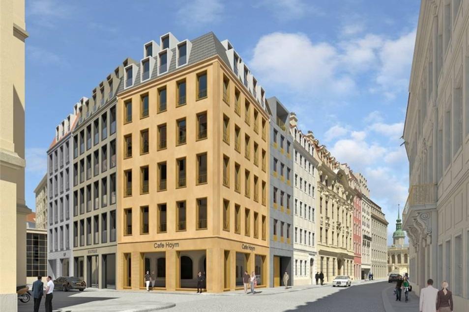 """Visualisierung des Eckhauses """"Frieseneck"""" an der Landhausstraße am Neumarkt,"""