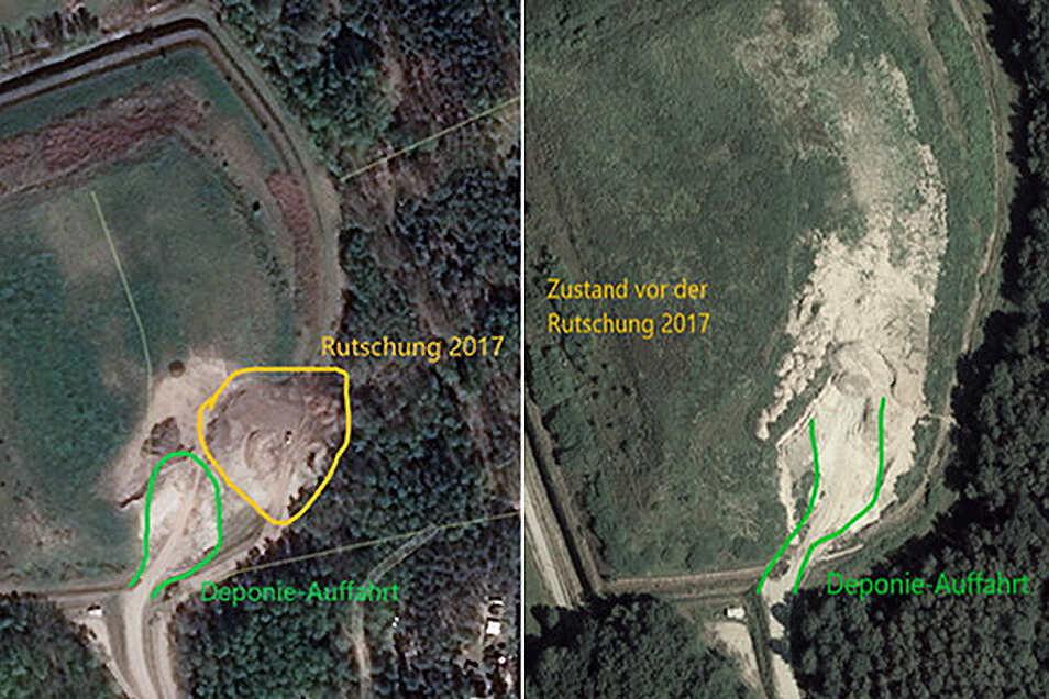 An der Auffahrt zur Deponie wurde bereits vor der ersten Rutschung im Oktober 2017 gebaut. Das zeigen die beiden Satellitenfotos von der Deponie bei Biehain.