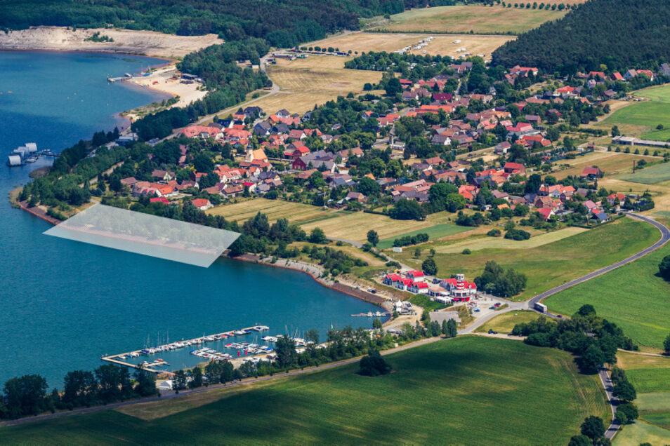 Ein denkbarer Standort für neue schwimmende Häuser könnte die graue Fläche am Südostufer des Geierswalder Sees sein.