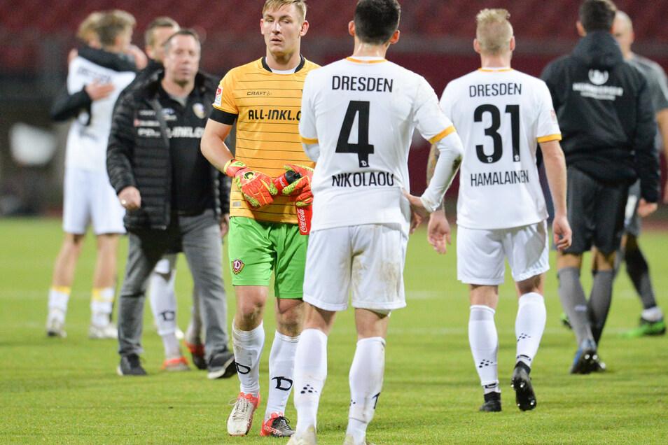 Nach der Niederlage in Nürnberg sind die Dynamo-Profis mal wieder enttäuscht. Jetzt ist erst einmal Pause.