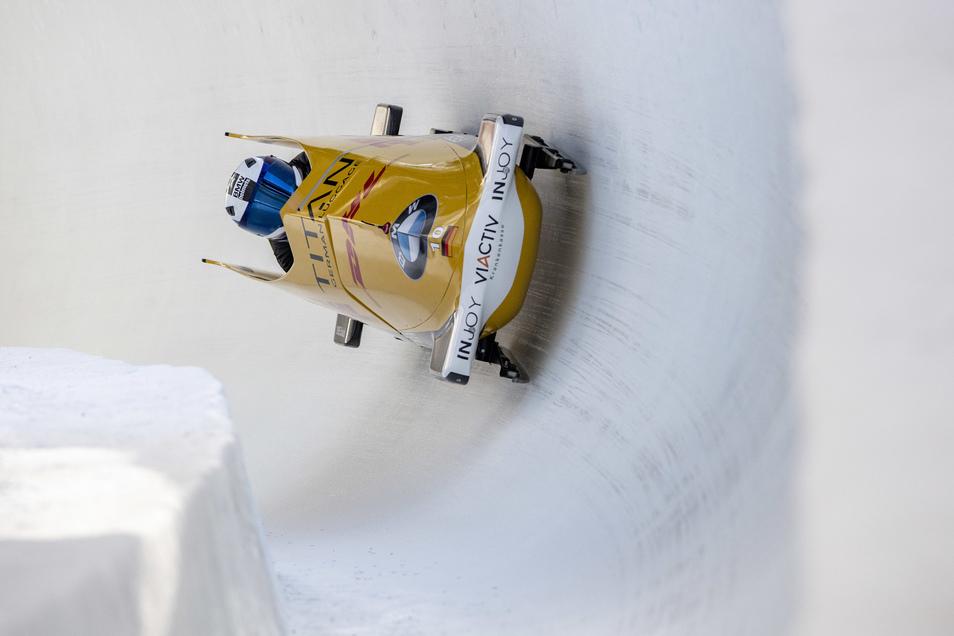 Johannes Lochner in der Siegspur. Er gewinnt in St. Moritz - und darf damit jetzt auch bei der WM in Altenberg im Zweierbob fahren.