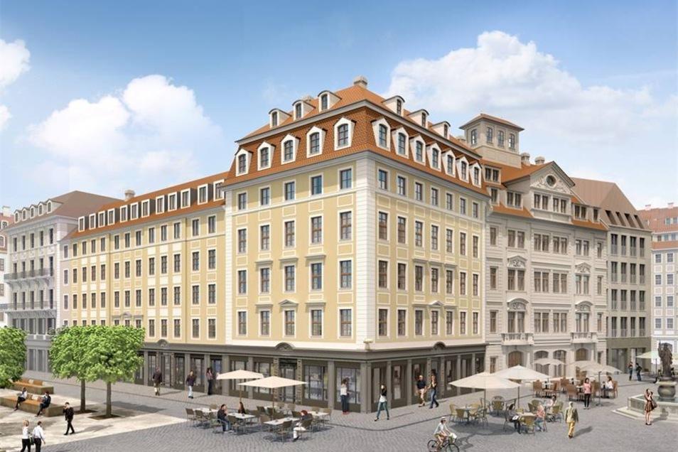 Am Jüdenhof wird das Regimentshaus (rechte Seite in der Mitte) als einer der zwei Leitbauten original wiederaufgebaut.