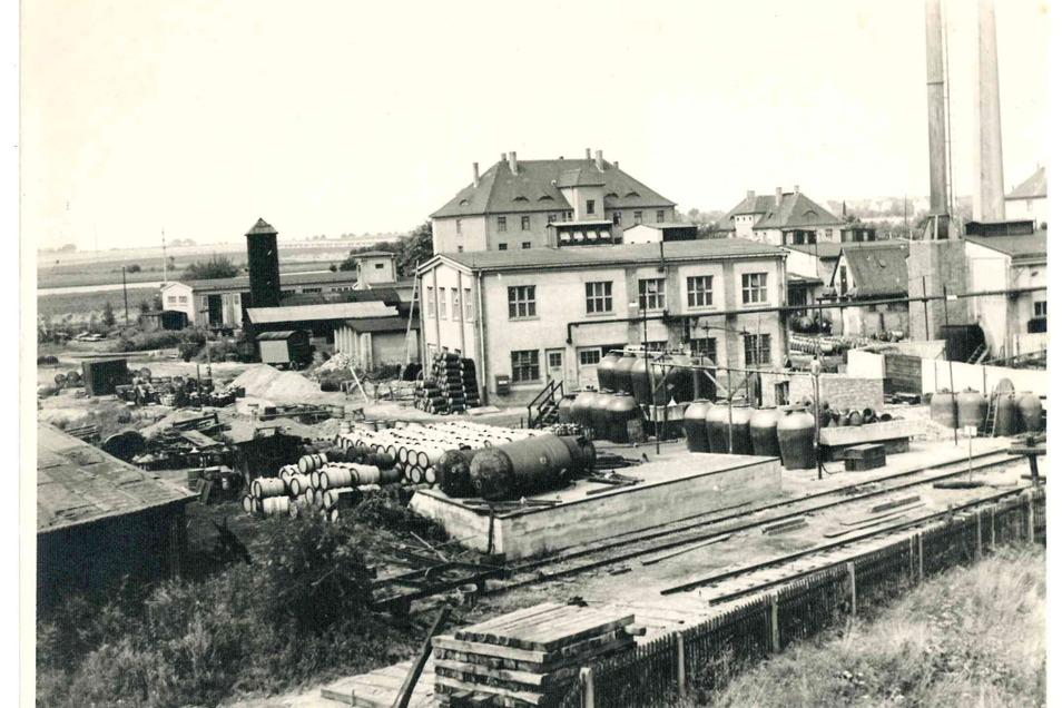 Das Werksgelände an der Lommatzscher Straße im Juli 1960.