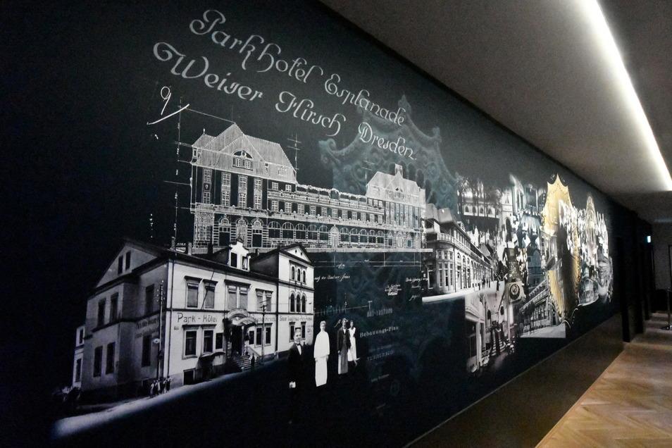 Der ehemalige Rauchergang hat sich total verändert: Eine Parkhotel-Foto- und Zeichnungscollage ziert eine Wand.