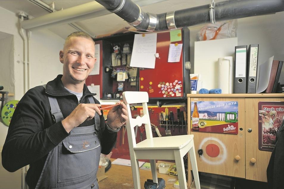 Toralf Arold aus Pirna arbeitet als Hausmeister in der Awo-Kita am Schlängelbachweg. Rund ist sein Leben nicht verlaufen.
