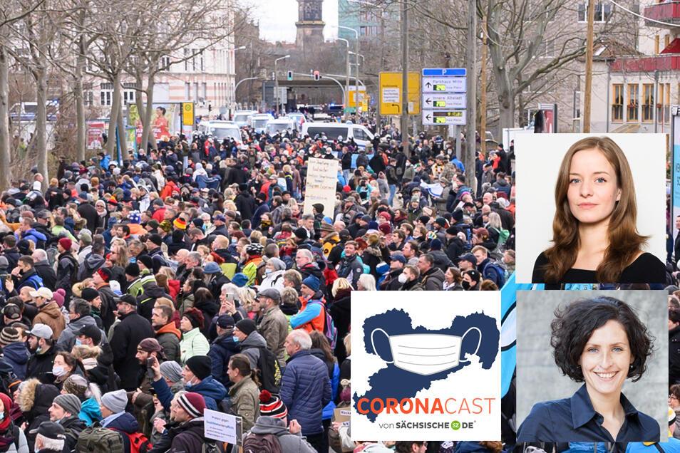 Doreen Reinhard (kleines Bild unten) und Franziska Klemenz beobachten seit Beginn der Pandmie Proteste gegen Corona-Maßnahmen. Im CoronaCast berichten sie von ihren Erlebnissen.