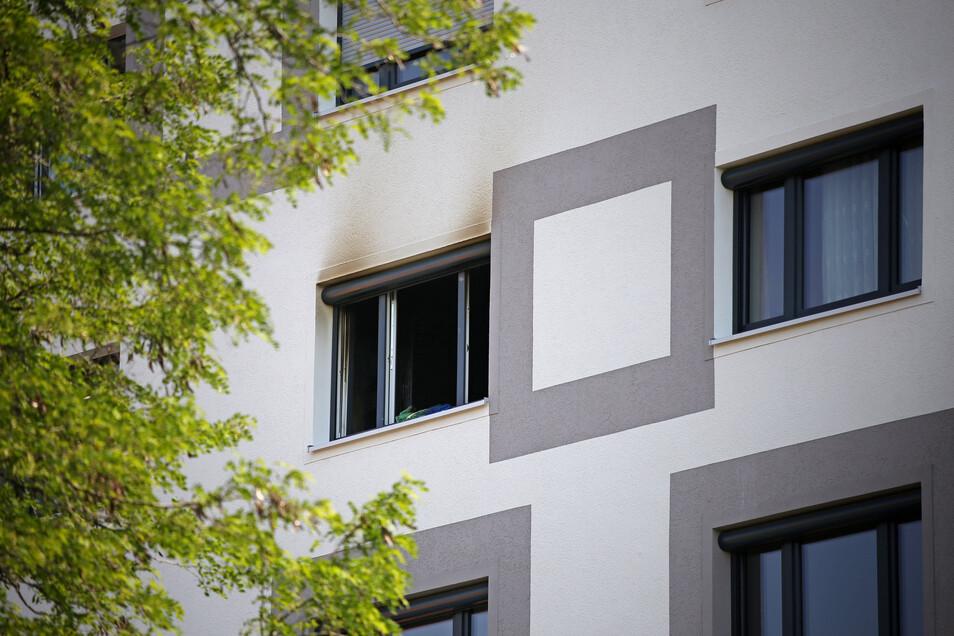 Blick in die Brandwohnung im fünften Stock.