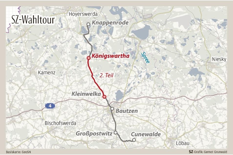 Der zweite Tag der Wahlwanderung führte die SZ-Reporterinnen von Königswartha nach Kleinwelka.