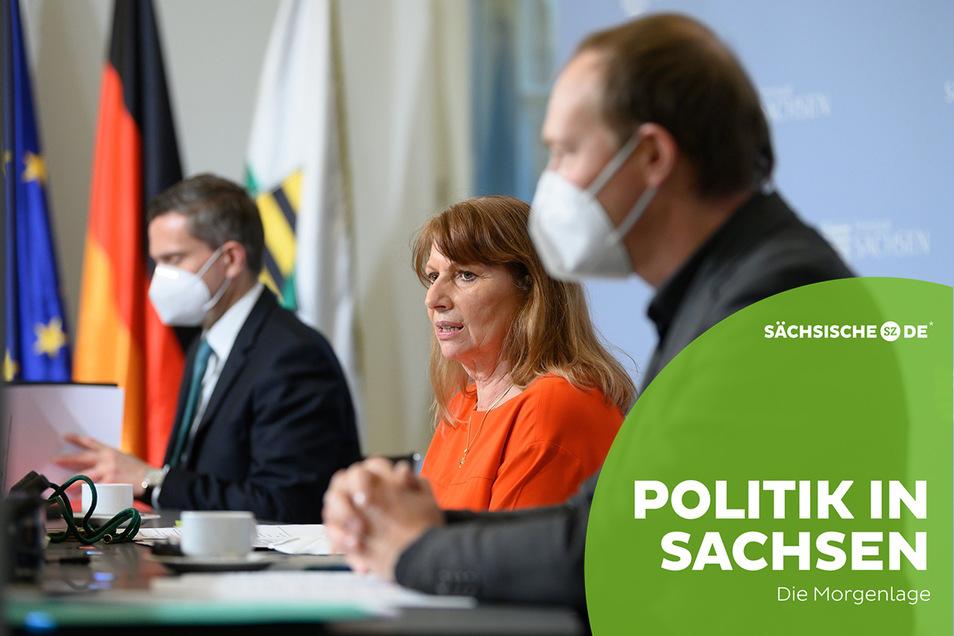 Wirtschaftsminister Martin Dulig, Gesundheitsministerin Petra Köpping (SPD) und Umweltminister Wolfram Günther (v. l.) bei der Kabinettspressekonferenz am Dienstag.