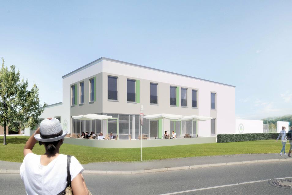 """Neubau von """"Knack Frisch"""" in Pirna: eine Groß- und Erlebnisküche mit Bistro und Schulgarten."""
