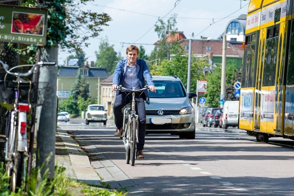 Fahrradangebotsstreifen auf der Meißner Straße. Nicht jeder fühlt sich da sicher neben Auto und Straßenbahn.