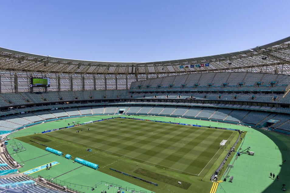 Baku, Olympiastadion: 31.000 zugelassene Zuschauer; drei Gruppenspiele, ein Viertelfinale.