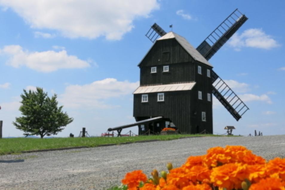 Die Windmühle in Kottmarsdorf - eine von zehn mit Flügeln in der Oberlausitz.