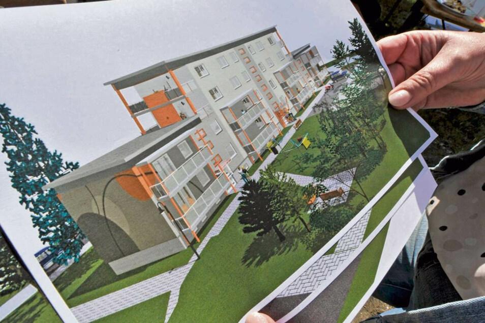 Wie der umgebaute Block nach seiner Fertigstellung zum Stadthaus aussehen wird, zeigt das Foto. Die Fassadengestaltung mit grauen Punkten und orangefarbenen Gestaltungselementen geht laut Petra Sczesny auf eine Inspiration während einer Fahrt mit einem IC