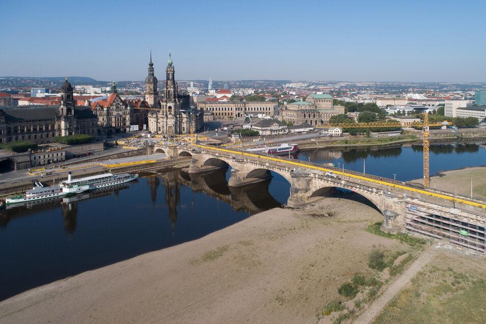 Dauerbaustelle Augustusbrücke, Königsufer, Foto: Rene Meinig