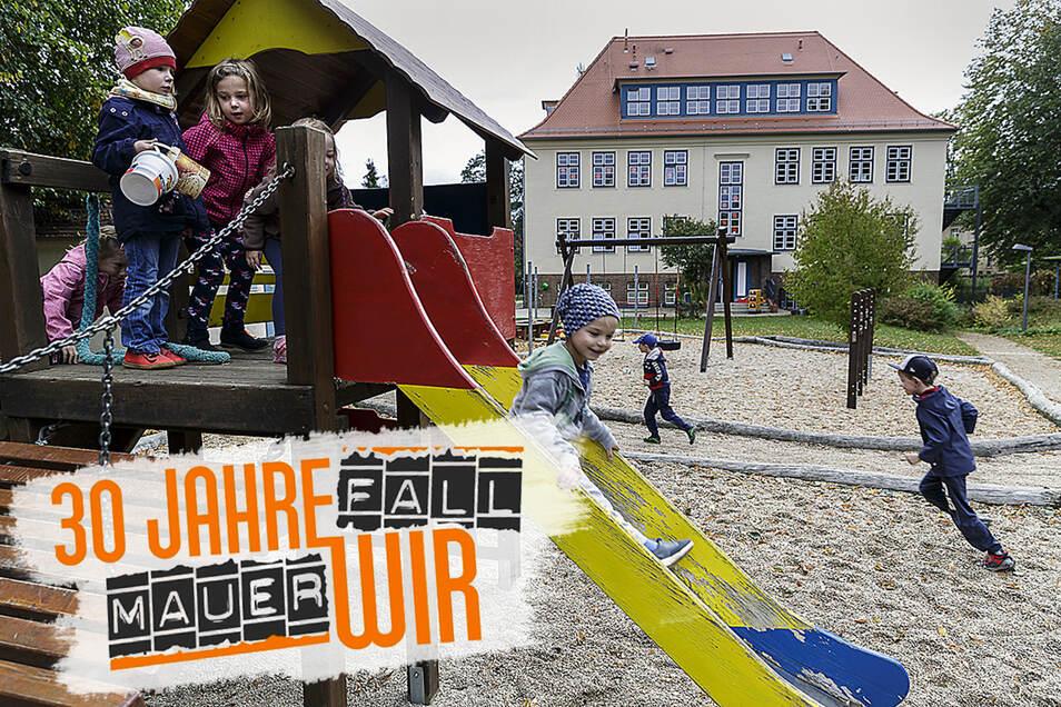 """Die Schule in Ludwigsdorf ist jetzt die Kindertagesstätte """"Zum Storchennest"""" und wird von der Arbeiterwohlfahrt betrieben. Das Gebäude wurde 2011 umfassend saniert und bietet heute mehr als 60 Plätze für Krippen- und Kindergartenkinder."""