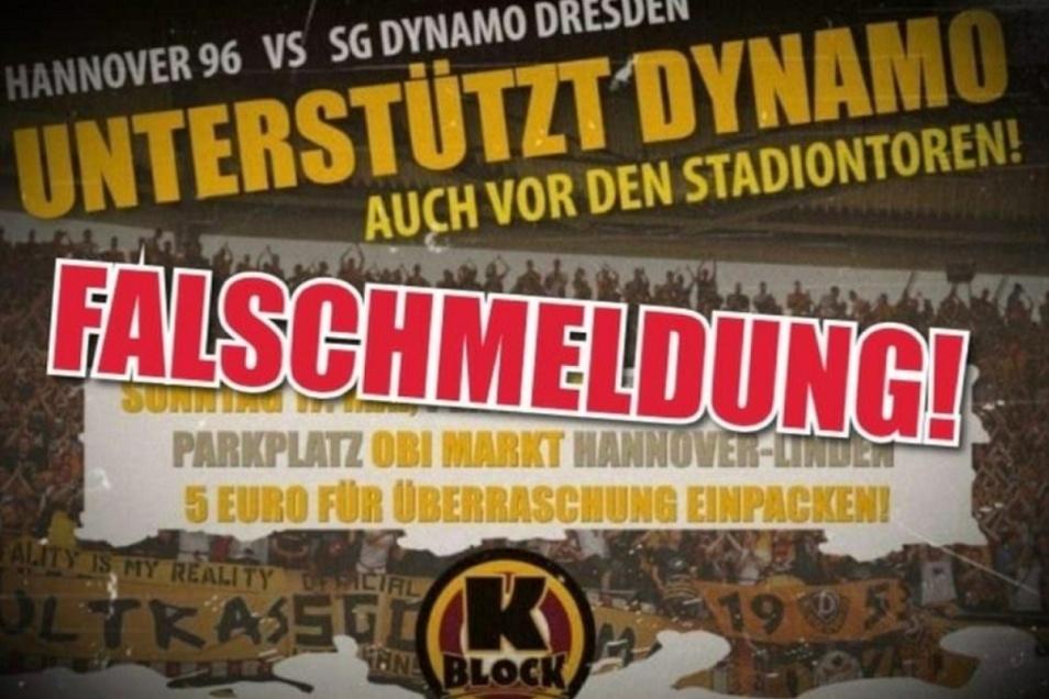 Dynamos aktive Fanszene distanziert sich von der im Internet verbreiteten Meldung, zum Geisterspiel nach Hannover zu fahren.