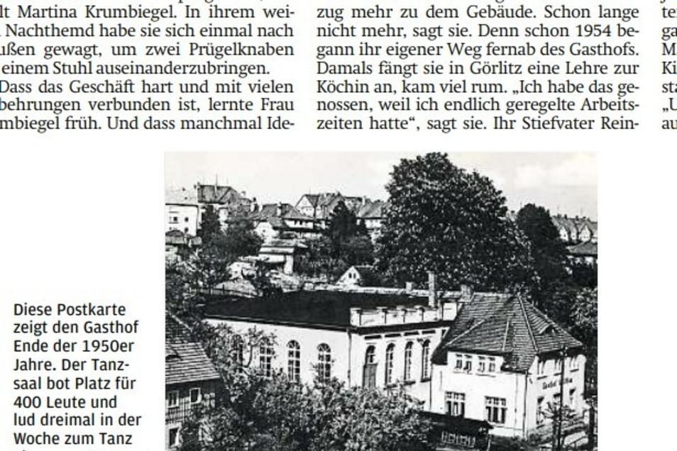 """In einer Serie über alte Gasthäuser in Löbau berichtete die SZ auch über den """"Gasthof Altlöbau""""."""