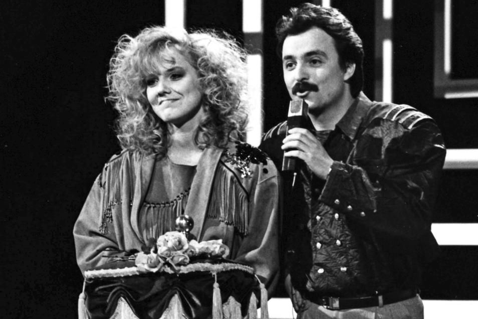 """1988 bei der Verleihung des """"Silbernen Bong"""" an Inka Bause."""