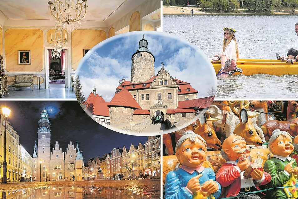 Die Altstadt von Breslau (u. l.), die Burg Czocha (M.) und Schloss Lomnitz (o. l.) in Polen, der Kristýna-See (o. r.) sowie Straßenmärkte in Tschechien mit ihren bunten Garten-Figuren warten wieder auf die Oberlausitzer Ausflügler und Urlauber.