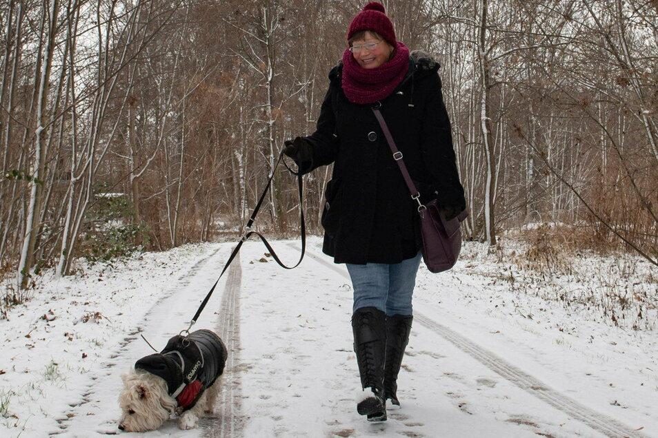Petra Winkler hat mit Hund Jessy eine Runde gedreht.