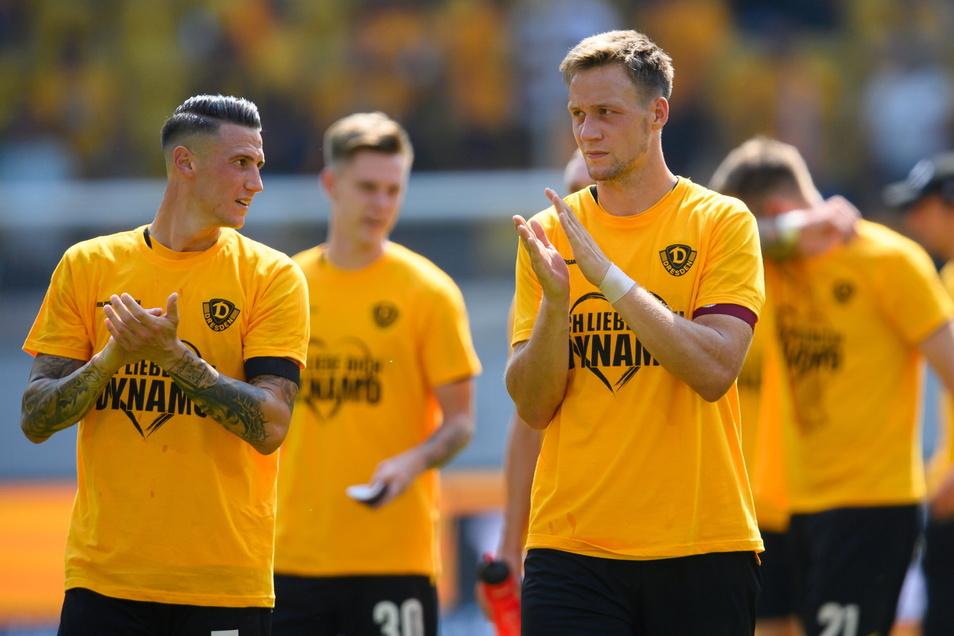 Schon beim 3:0-Heimsieg gegen Ingolstadt gehörte Tim Knipping (r.) zu Dynamos Stützen, beim 1:1 in Hamburg erzielte er das Tor für die Dresdner.