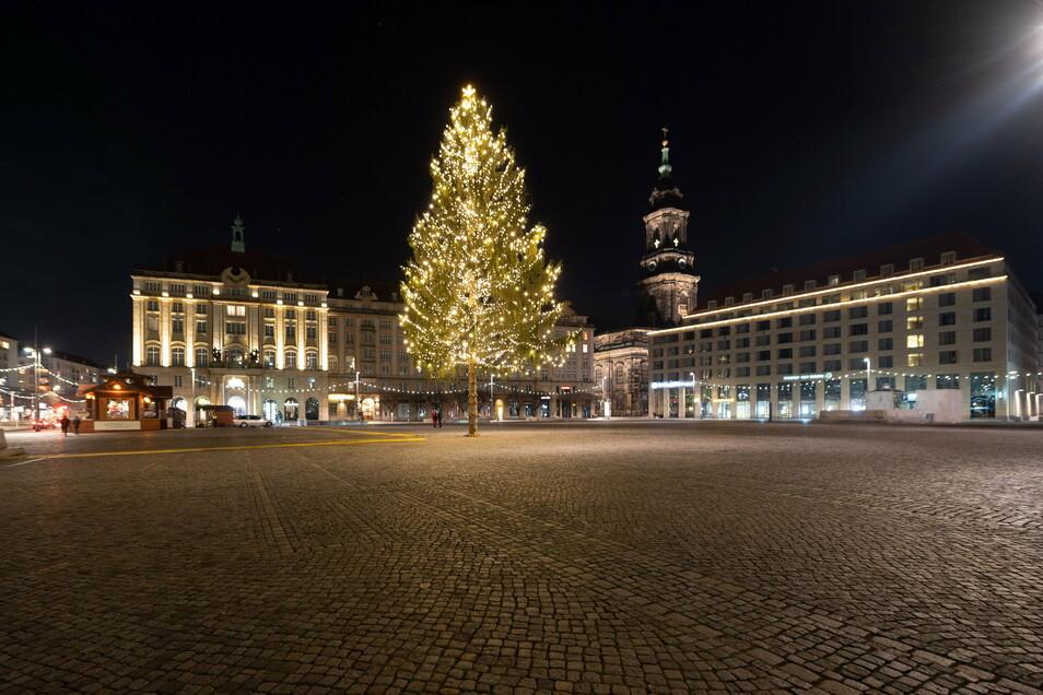 Der einsame Weihnachtsbaum auf dem Altmarkt - Weihnachten ohne Striezelmarkt und Silvester ohne Menschen.