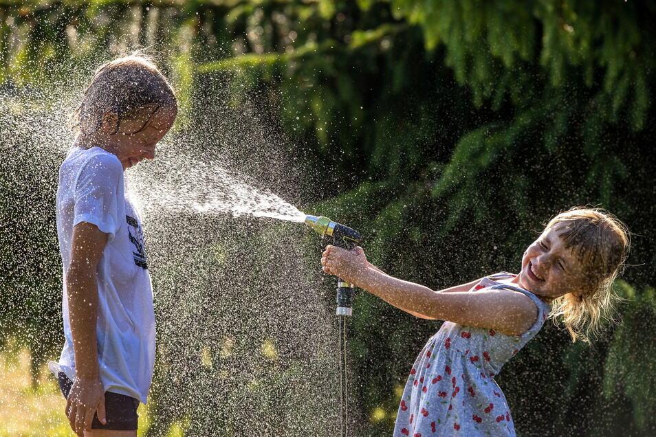 Manchmal tut's auch eine Dusche aus dem Gartenschlauch.
