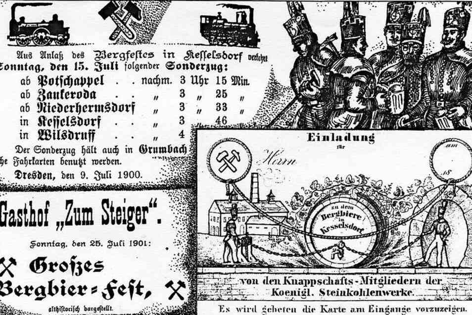 Bildmontage zum einheimischen Bergbierfest der Kumpel. Ein Vergnügen, das ab 1841 aktuell war. Archiv: Siegfried Huth (2)
