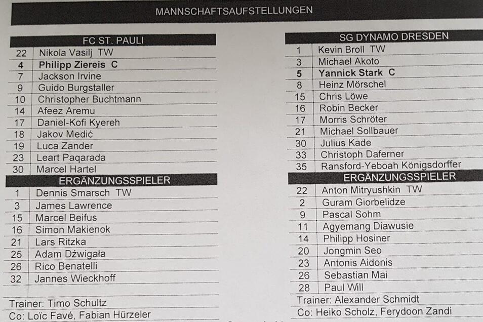 Diese Mannschaften schenken Pauli-Trainer Timo Schultz und Dynamo-Coach Alexander Schmidt von Beginn an das Vertrauen.
