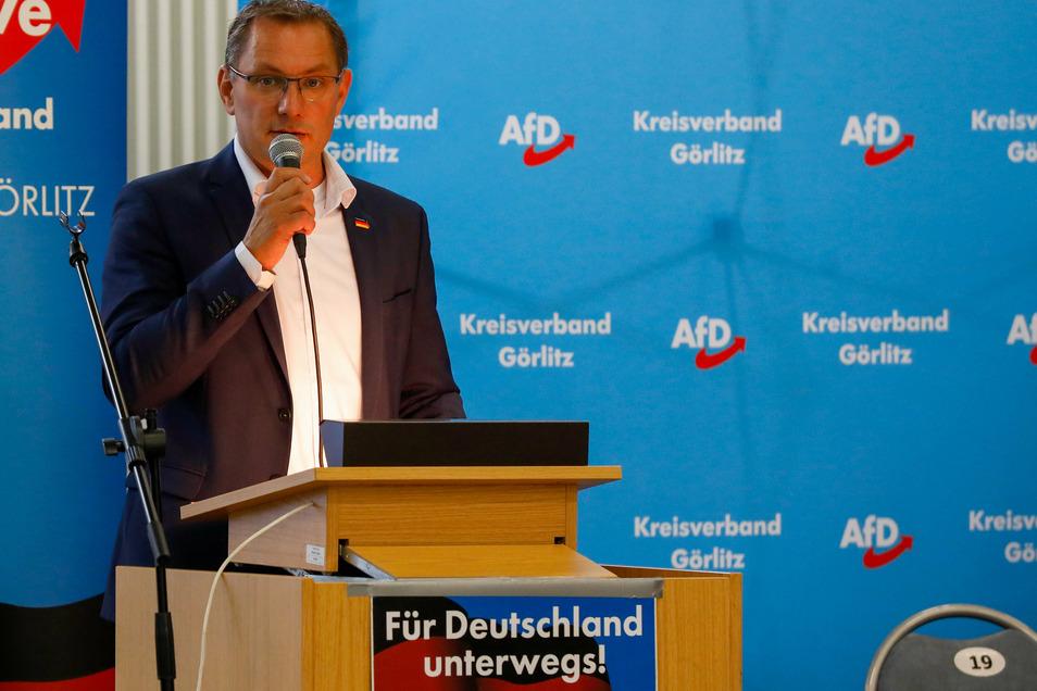 Tino Chrupalla in Löbau, als er zum Direktkandidaten der AfD gewählt wurde.